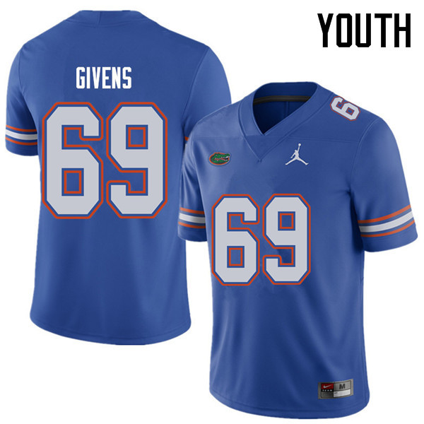 Jordan Brand Youth #69 Marcus Givens Florida Gators College Football Jerseys Sale-Royal
